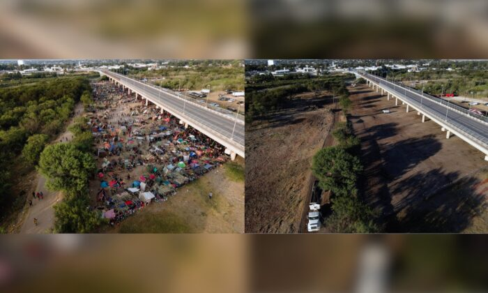 This photo combination shows an area where migrants, many from Haiti, were encamped along the Del Rio International Bridge on Sept. 21, 2021, and a photo showing the area after it was cleared off by authorities in Del Rio, Texas, on Sept. 25, 2021. (Julio Cortez/AP Photo)