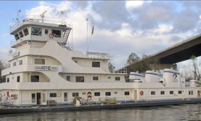 This photo provided by NTSB shows Cooperative Spirit moored after the accident. (NTSB via AP)