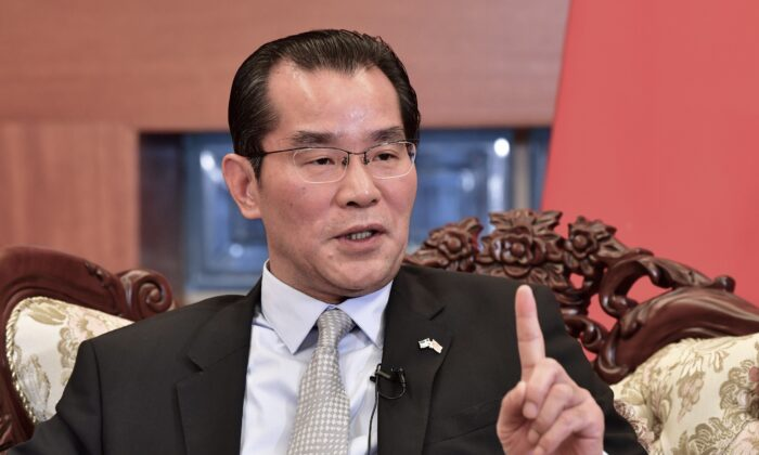 China's ambassador to Sweden Gui Congyou speaks to the media in Stockholm on Nov. 15, 2019. (Jonas Ekstromer/TT News Agency/AFP via Getty Images)