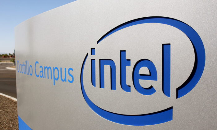 The logo for the Intel Corporation is seen on a sign outside the Fab 42 microprocessor manufacturing site in Chandler, Ariz. U.S., on Oct. 2, 2020. (Nathan Frandino/File Photo/Reuters)