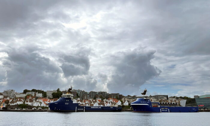 Offshore oil and gas platform supply vessels (PSVs) are docked at a pier in Stavanger, Norway, on Aug. 10, 2021. (Nerijus Adomaitis/Reuters)