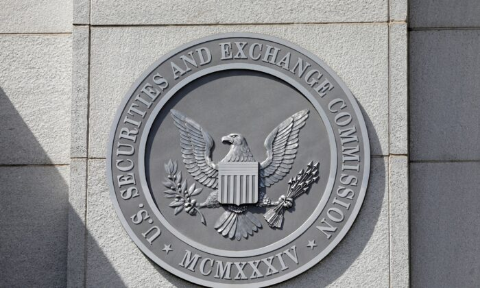 The seal of the U.S. Securities and Exchange Commission (SEC) is seen at their headquarters in Washington on May 12, 2021. (Andrew Kelly/Reuters)