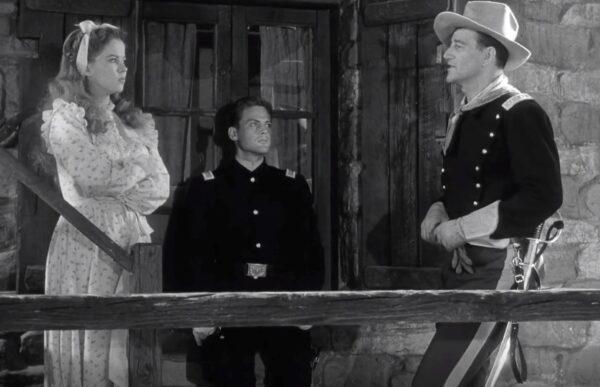 Shirley Temple, John Agar, and John Wayne in Fort Apache