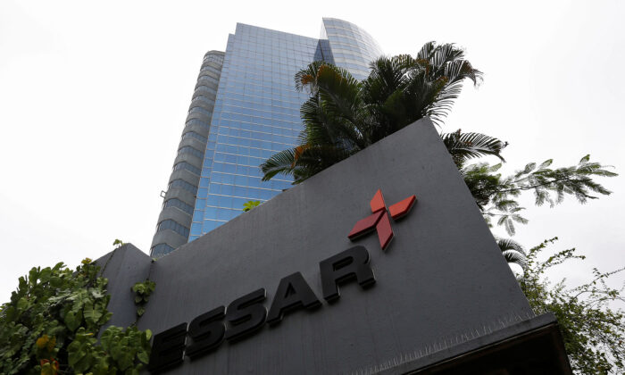 The logo of Essar group is seen at its headquarters in Mumbai, India, on Aug. 21, 2017. (Danish Siddiqui/Reuters)