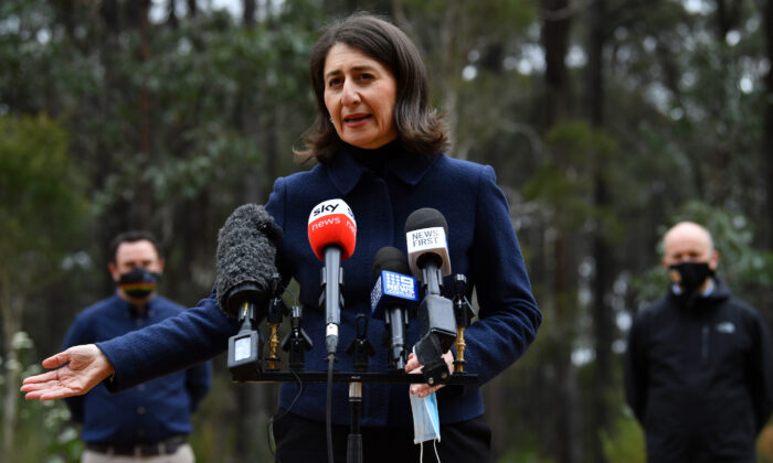 NSW State Premier Gladys Berejiklian speaks to the media during a press conference at Shane's Park in Sydney, Australia, on Sept. 26, 2021. (AAP Image/Joel Carrett)