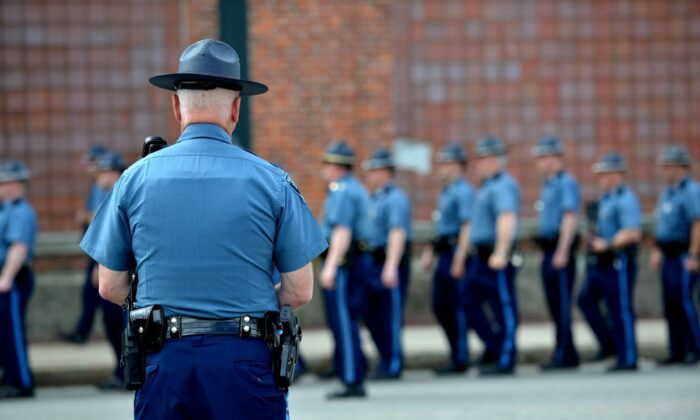 A Massachusetts state trooper in a file photo (Stan Honda/AFP via Getty Images)