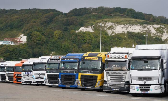 European lorries parked in Dover, Kent, on Sept. 26, 2021. (Gareth Fuller/PA)
