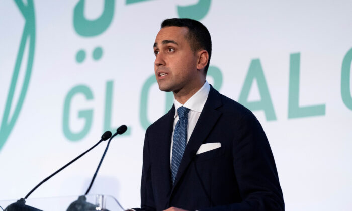 Italy's Foreign Minister Luigi Di Maio speaks during a news conference with U.S. Secretary of State Antony Blinken at Fiera Roma in Rome on June 28, 2021. (Andrew Harnik/Pool via Reuters)