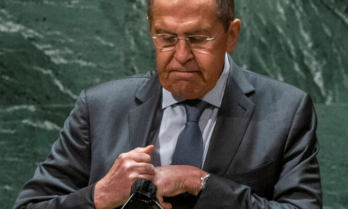 Russia's Foreign Minister Sergei Lavrov after addressing the 76th Session of the U.N. General Assembly in New York City, on Sept. 25, 2021. (Eduardo Munoz/Pool/Reuters)