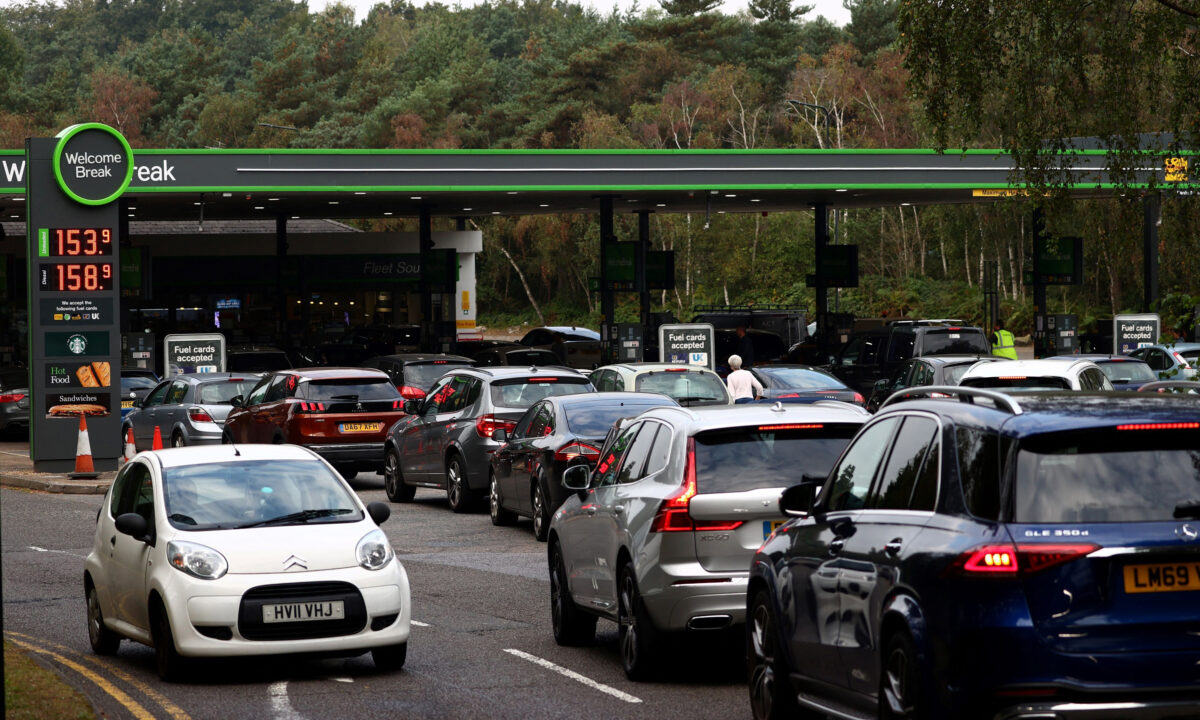 Lorry driver shortage UK petrol station queue