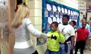 U.S. Teacher Learns Customized Handshake for Each Student