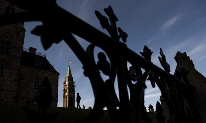 The Peace Tower on Parliament Hill in Ottawa is seen, in the midst of the COVID-19 pandemic, on April 18, 2020. (The Canadian Press/Justin Tang)