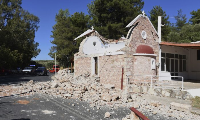 A damaged Greek Orthodox chapel after a strong earthquake in Arcalochori village on the southern island of Crete, Greece, on Sept. 27, 2021. (Harry Nikos/AP Photo)