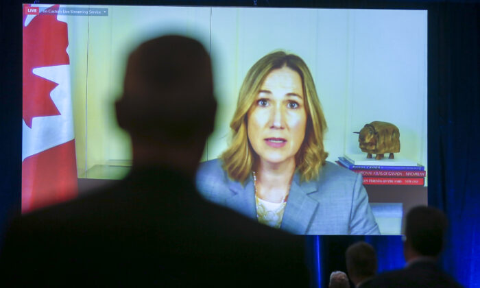 Canada's Ambassador to the United States Kirsten Hillman speaks via video link at the Global Business Forum in Banff, Alta., on Sept. 24, 2020. (The Canadian Press/Jeff McIntosh)