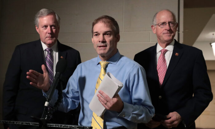 Rep. Jim Jordan (R-Ohio) (C), speaks to members of the media outside a closed session before the House Intelligence, Foreign Affairs, and Oversight committees at the U.S. Capitol on Oct. 28, 2019. (Mark Wilson/Getty Images)