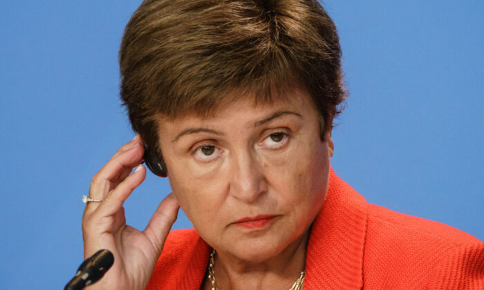 Kristalina Georgieva, managing director of the International Monetary Fund (IMF) speaks during a press conference at the German chancellery in Berlin, Germany, on Aug. 26, 2021. (Clemens Bilan/Getty Images)