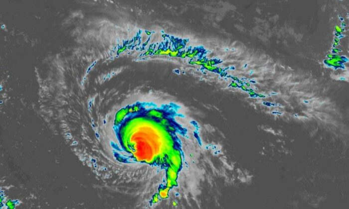 A satellite view of Hurricane Sam over the Atlantic Ocean on Sept. 27, 2021. (NOAA)