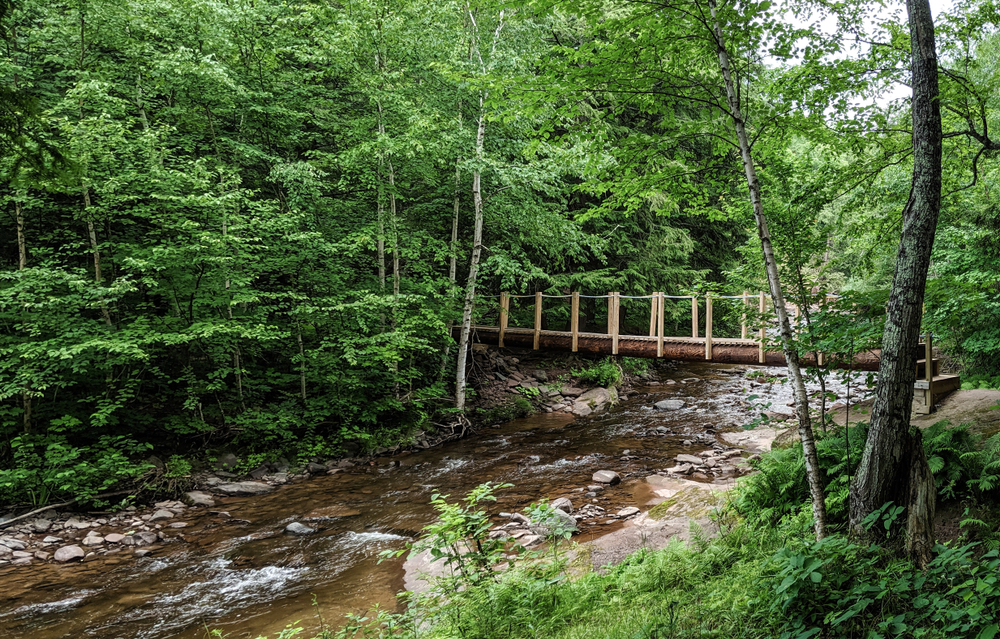 Wooden,Bridge,Over,A,Rushing,River,In,The,Wilderness,With