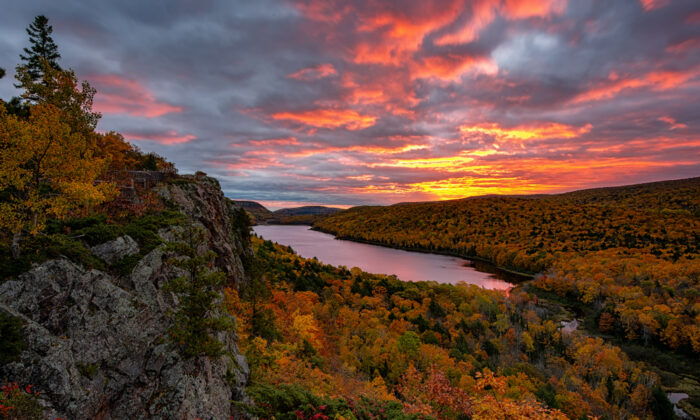 The sun sets over Porcupine Mountains Wilderness State Park. (John McCormick/Shutterstock)