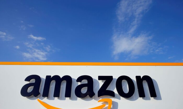The logo of Amazon is seen at the company logistics centre in Boves, France on Aug. 8, 2018. (Pascal Rossignol/Reuters)