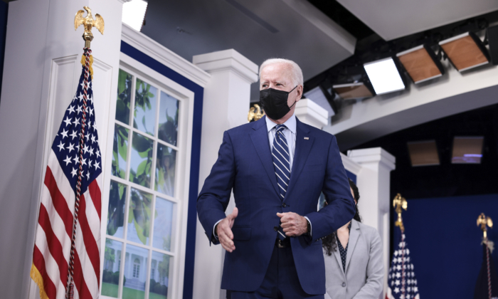 President Joe Biden speaks to reporters after receiving a third dose of the Pfizer/BioNTech COVID-19 vaccine in the South Court Auditorium in the White House on Sept. 27, 2021. (Anna Moneymaker/Getty Images)