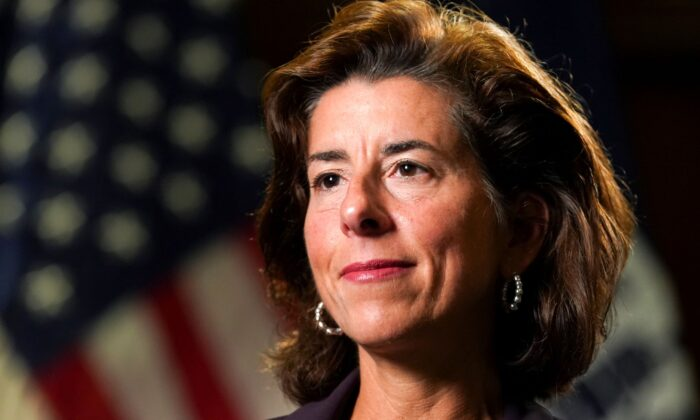 Commerce Secretary Gina Raimondo listens to a question during an interview with Reuters at the Department of Commerce in Washington on Sept. 23, 2021. (Kevin Lamarque/Reuters)