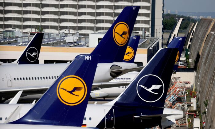 Lufthansa planes are seen parked on the tarmac of Frankfurt Airport, Germany, on June 25, 2020. (Kai Pfaffenbach/Reuters)