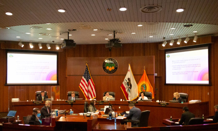 The Orange County Board of Supervisors listen to Orange County residents at the Aug. 10, 2021, meeting in Santa Ana, Calif. (John Fredricks/The Epoch Times)