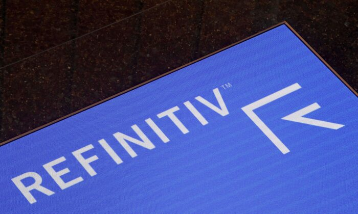 The Refinitiv logo is seen on a screen in offices in Canary Wharf in London, Britain, on Aug. 1, 2019. (Toby Melville/Reuters)