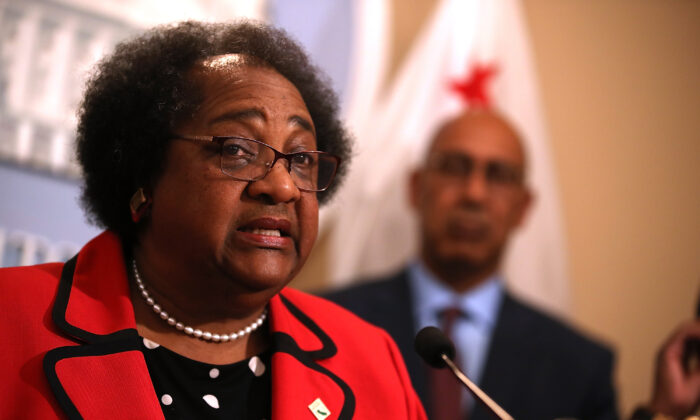 Then California State Assemblymember Shirley Weber (D-San Diego) speaks during a news conference in Sacramento, Calif., on April 3, 2018. (Justin Sullivan/Getty Images)