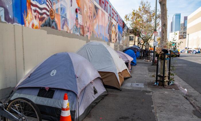 Skid Row in downtown Los Angeles, Calif., on Nov. 17, 2018. (John Fredricks/The Epoch Times)