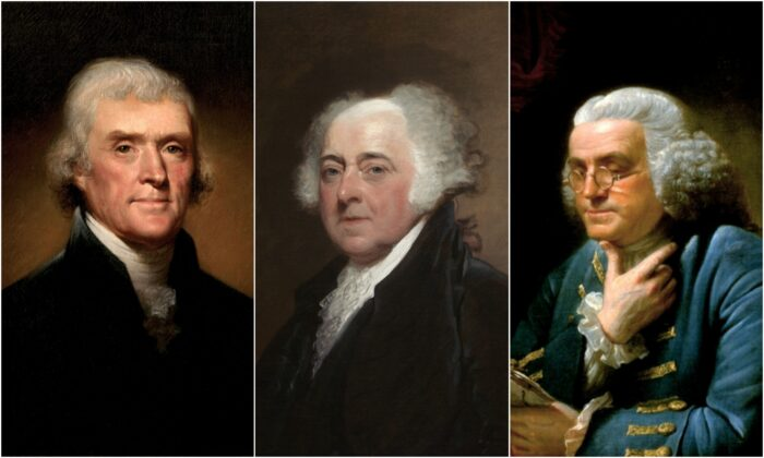 """(L-R) Thomas Jefferson advised no less than two hours of exercise a day, regardless of weather. John Adams opined: """"Old minds are like old horses; you must exercise them if you wish to keep them in working order."""" Benjamin Franklin walked and lifted weights into his old age. (Public domain)"""