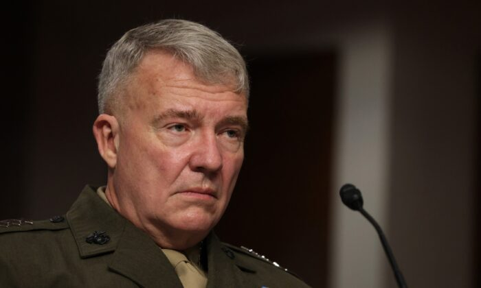 Commander of U.S. Central Command Gen. Kenneth McKenzie testifies during a hearing before Senate Armed Services Committee in Washington on Sept. 28, 2021. (Alex Wong/Getty Images)