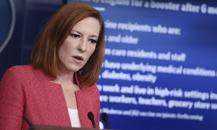 White House Press Secretary Jen Psaki speaks at a press briefing in the James Brady Press Briefing Room of the White House in Washington, D.C., on Sept. 27 2021. (Anna Moneymaker/Getty Images)
