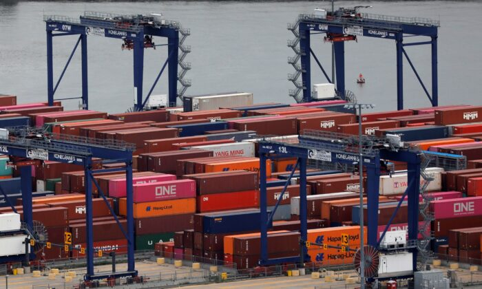 Shipping containers are seen at the port in Bayonne, N.J., on Aug. 21, 2021. (Andrew Kelly/Reuters)