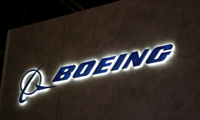 A Boeing logo is pictured during the European Business Aviation Convention & Exhibition at Geneva Airport, Switzerland, on May 28, 2018. (Denis Balibouse/Reuters)