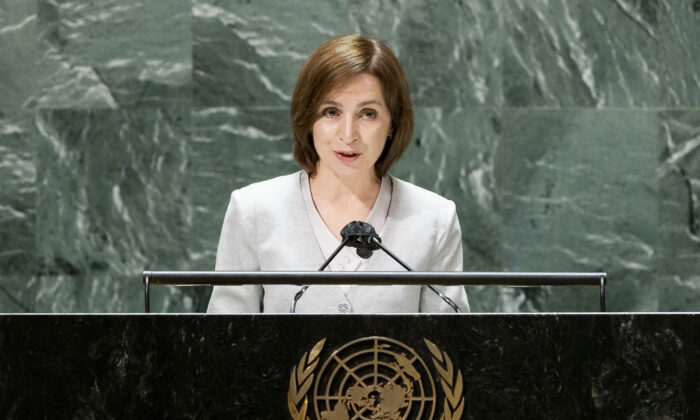 Moldova's President Maia Sandu addresses the United Nations General Assembly in New York City on Sept. 22, 2021 in New York City. (Justin Lane- Pool/Getty Images)
