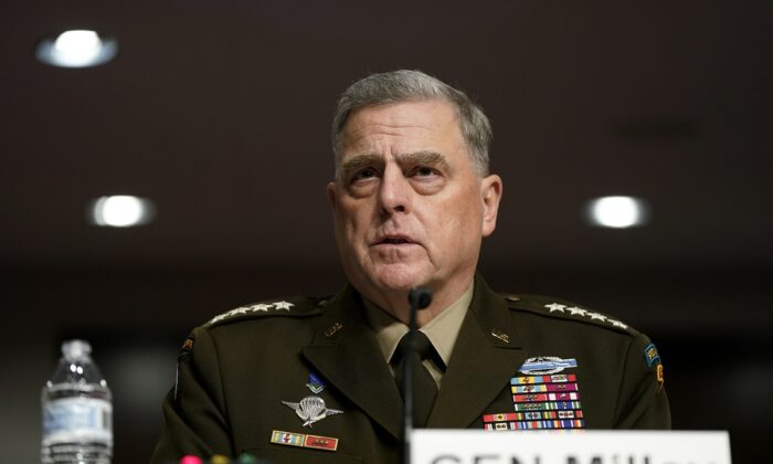 Chairman of the Joint Chiefs of Staff Gen. Mark Milley speaks during a Senate Armed Services Committee hearing on the conclusion of military operations in Afghanistan and plans for future counterterrorism operations on Capitol Hill in Washington on Sept. 28, 2021. (Patrick Semansky/Pool/Getty Images)