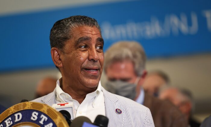 Rep. Adriano Espaillat (D-N.Y.) speaks during a press conference in New York City on June 28, 2021. (Michael M. Santiago/Getty Images)