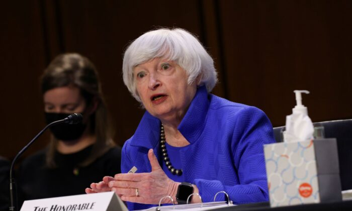 Treasury Secretary Janet Yellen testifies during a Senate Banking, Housing and Urban Affairs Committee hearing on the CARES Act, at the Hart Senate Office Building in Washington on Sept. 28, 2021. (Kevin Dietsch/Pool via Reuters)