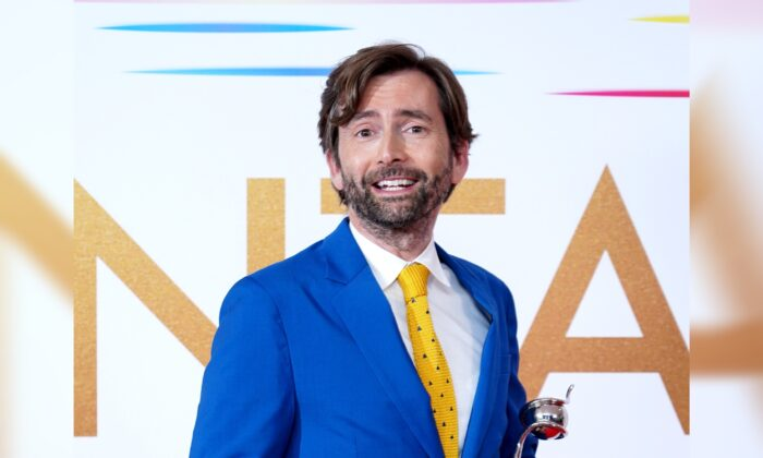 David Tennant in the press room after winning the Drama Performance award for his portrayal of Dennis Nielsen in Des at the National Television Awards 2021 held at the O2 Arena, London, on Sept. 9, 2021. (Ian West/PA)