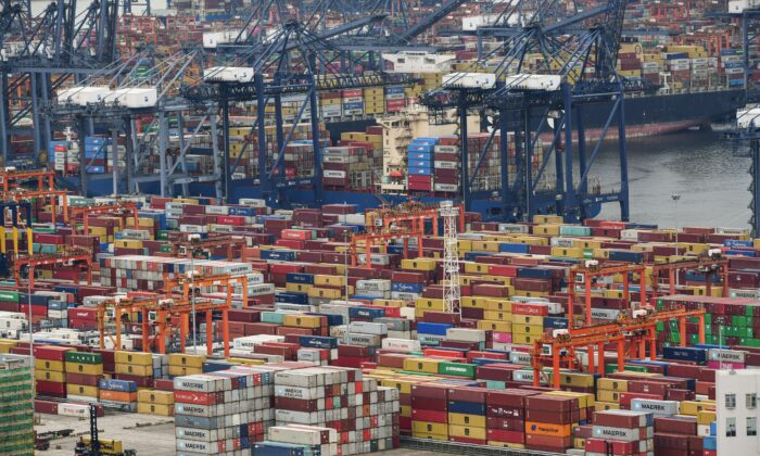 This aerial photo taken on June 22, 2021 shows cargo containers stacked at Yantian port in Shenzhen in China's southern Guangdong province.  (Photo by STR/AFP via Getty Images)