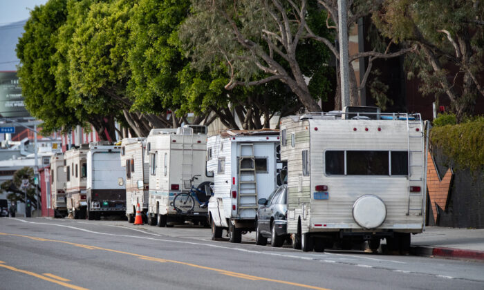 A homeless encampment in Venice Beach, Calif., on Jan. 27, 2021. (John Fredricks/The Epoch Times)