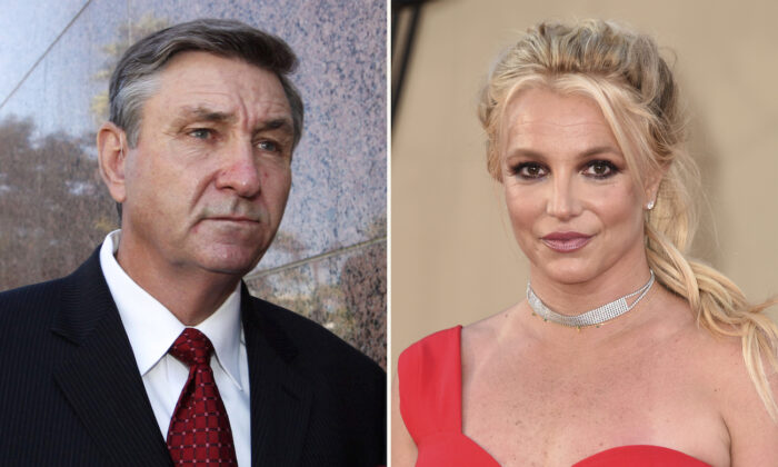 Combination photo, Jamie Spears, father of singer Britney Spears (L), and Britney Spears (R). (AP Photo)