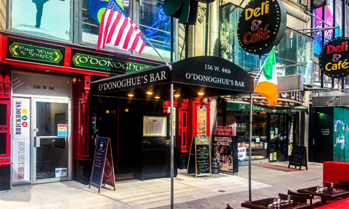 O'Donoghue's Pub and Restaurant in Times Square, N.Y., on Sept. 30, 2021. (Enrico Trigoso/The Epoch Times)