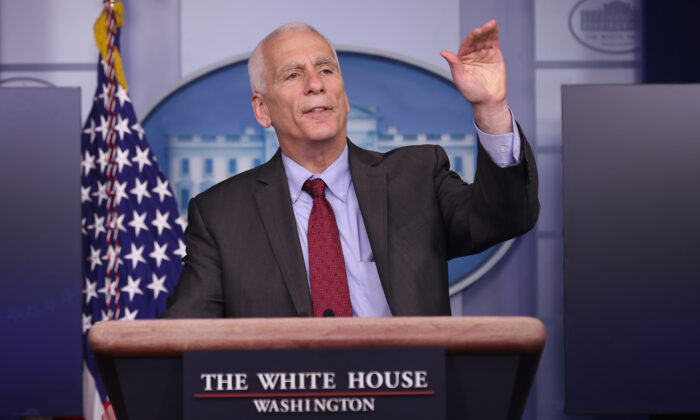 White House economic adviser Jared Bernstein talks to reporters at the White House, in Washington, on Feb. 05, 2021. (Chip Somodevilla/Getty Images)