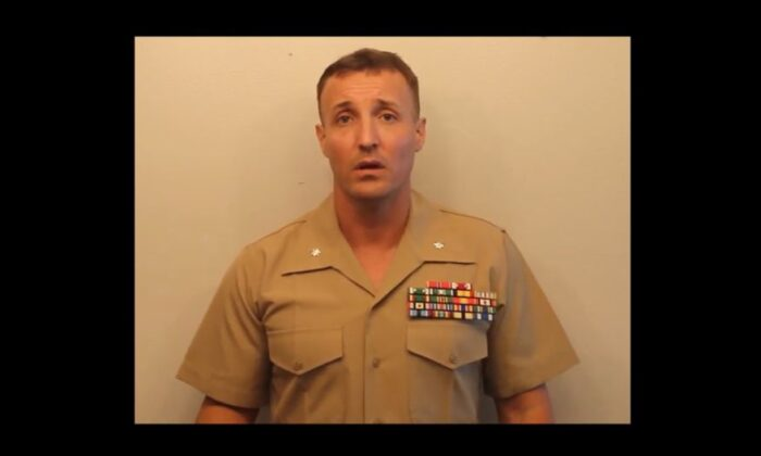 Lt. Col. Stuart Scheller—the U.S. Marine jailed for criticizing senior military officials—has been released from detention but could still face charges, The Epoch Times has learned. (screenshot from Scheller's Sept. 16 video/The Epoch Times)