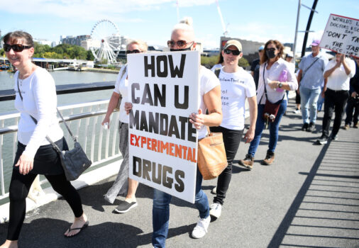 Protesters Rally Against Mandatory COVID-19 Vaccinations For Workers In Brisbane