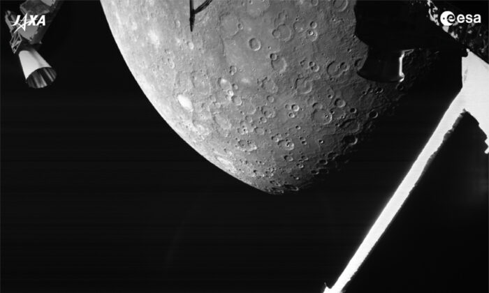 This image made available by the European Space Agency (ESA) shows planet Mercury taken by the joint European-Japanese BepiColombo spacecraft Mercury Transfer Module's Monitoring Camera 2, on Oct. 1, 2021. (ESA via AP)