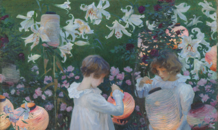 """""""Carnation Lily, Lily Rose,"""" 1885-1886, by John Singer Sargent. Oil on canvas; 68.5inches by60.5inches. Tate. (Copyright Tate)"""